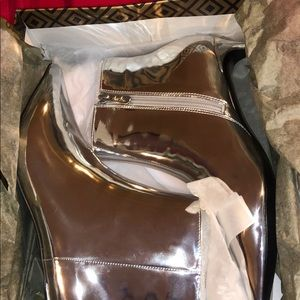 Charles David silver booties brand new with box